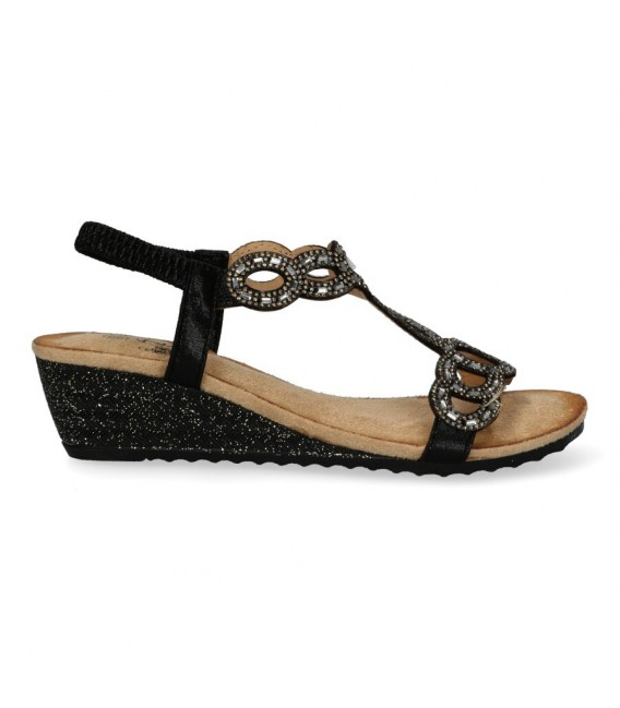 SANDALIA CUÑA BAJA Luna Collection 217-2469 NEGRO