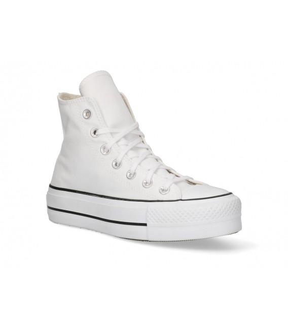BOTIN TELA PISO DOBLE Converse CTAS LIFT HI WHITE BLACK 560845 BLANCO